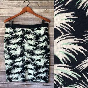 Rachel Roy Knit LA Story Palm Print Mini Skirt XL